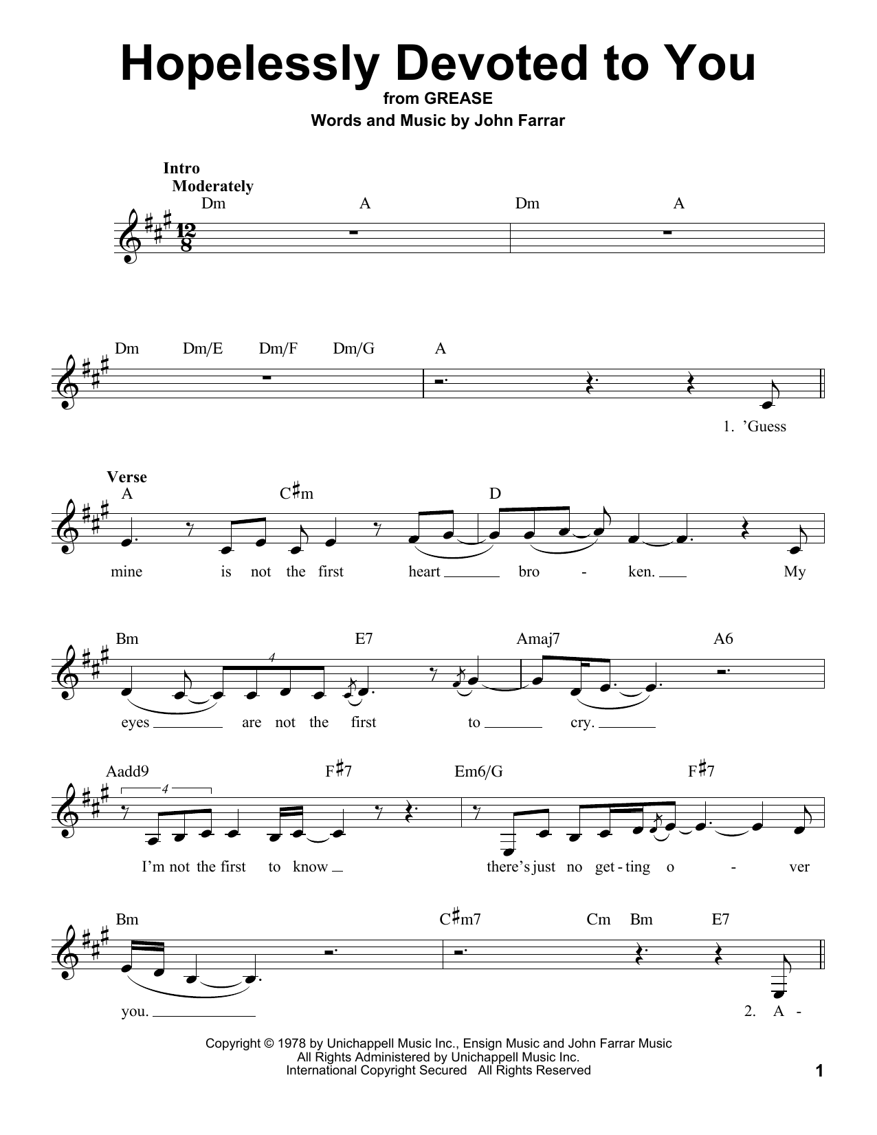 Olivia Newton-John Hopelessly Devoted To You (from Grease) sheet music notes and chords. Download Printable PDF.