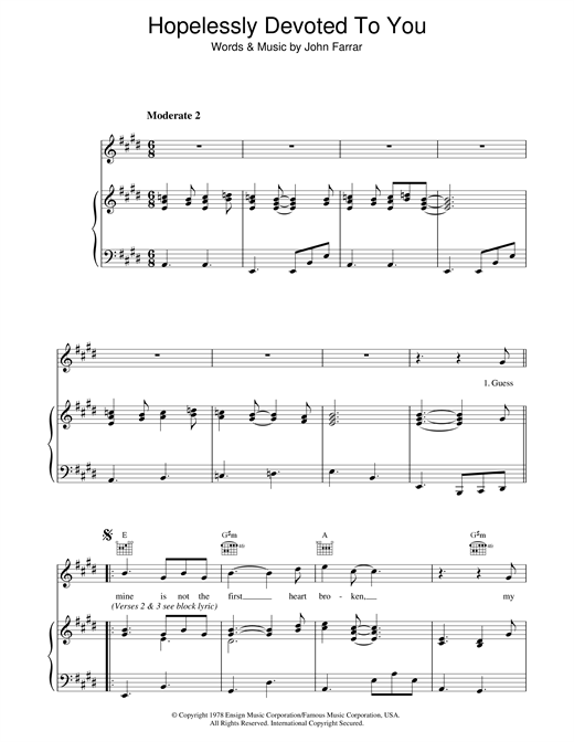 Olivia Newton-John Hopelessly Devoted To You (from Grease) sheet music notes and chords