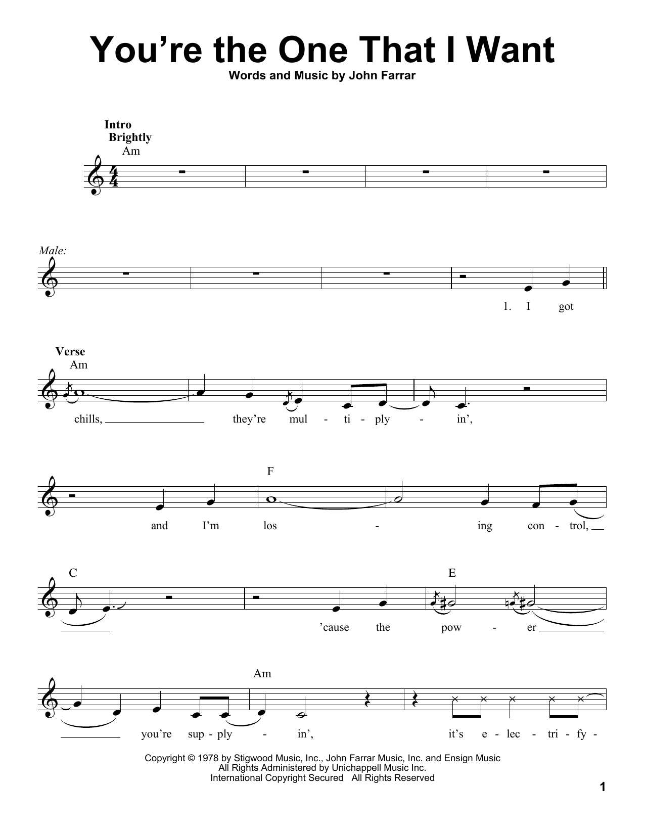 Olivia Newton-John and John Travolta You're The One That I Want sheet music notes and chords. Download Printable PDF.