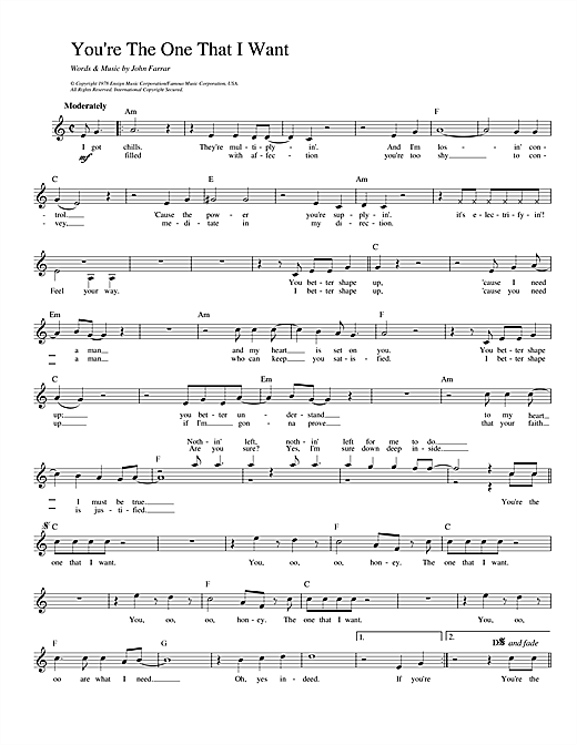 Olivia Newton-John and John Travolta You're The One That I Want (from Grease) sheet music notes and chords