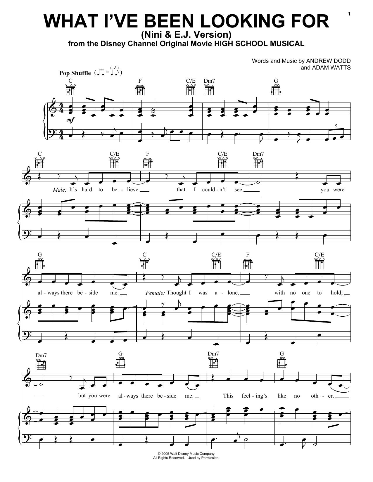 Olivia Rodrigo & Matt Cornett What I've Been Looking For from High School  Musical The Musical The Series Sheet Music Notes, Chords   Download ...