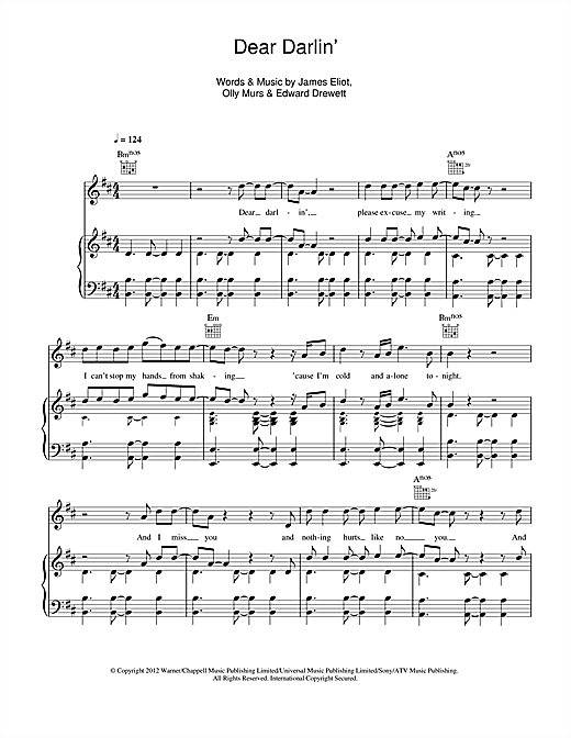Olly Murs Dear Darlin' sheet music notes and chords. Download Printable PDF.
