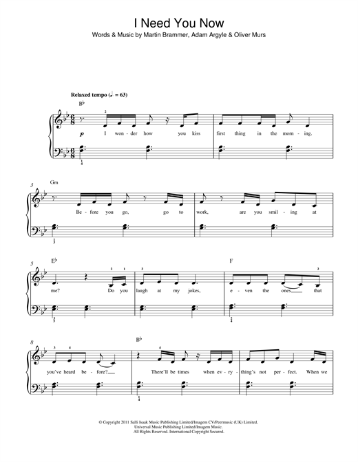 Olly Murs I Need You Now sheet music notes and chords