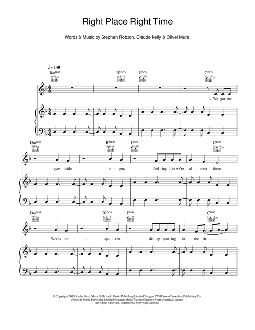 Olly Murs Right Place Right Time sheet music notes and chords