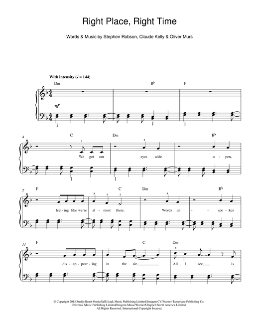 Olly Murs Right Place Right Time sheet music notes and chords. Download Printable PDF.
