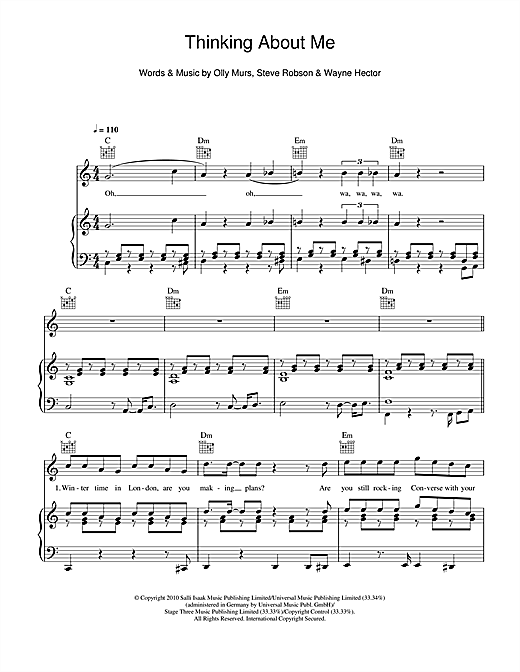 Olly Murs Thinking Of Me sheet music notes and chords. Download Printable PDF.