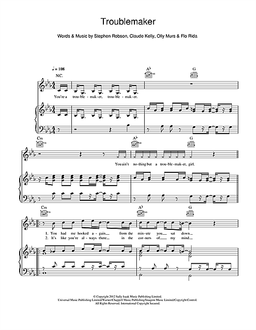 Olly Murs 'Troublemaker (feat  Flo Rida)' Sheet Music Notes, Chords |  Download Printable Piano, Vocal & Guitar (Right-Hand Melody) - SKU: 115170