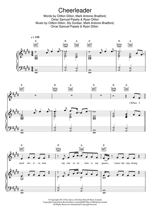 OMI Cheerleader sheet music notes and chords. Download Printable PDF.