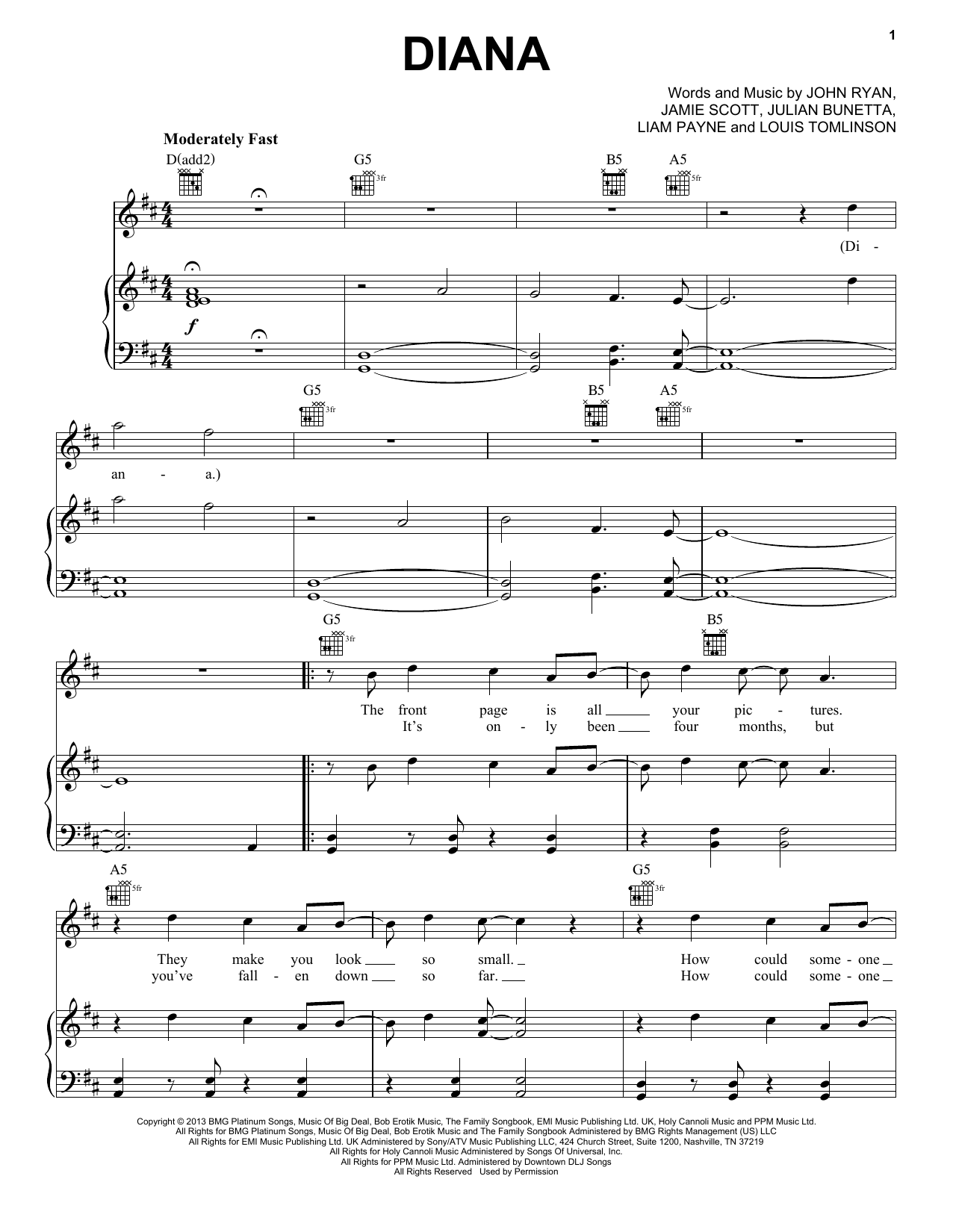 One Direction Diana sheet music notes and chords