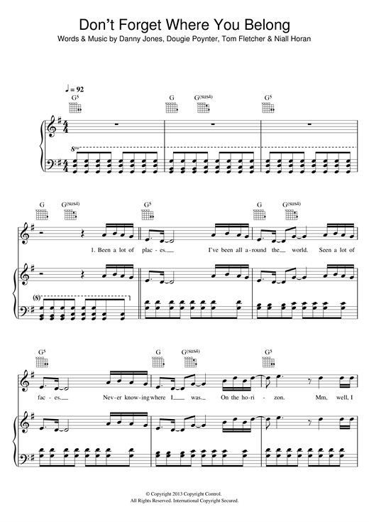 One Direction Don't Forget Where You Belong sheet music notes and chords. Download Printable PDF.