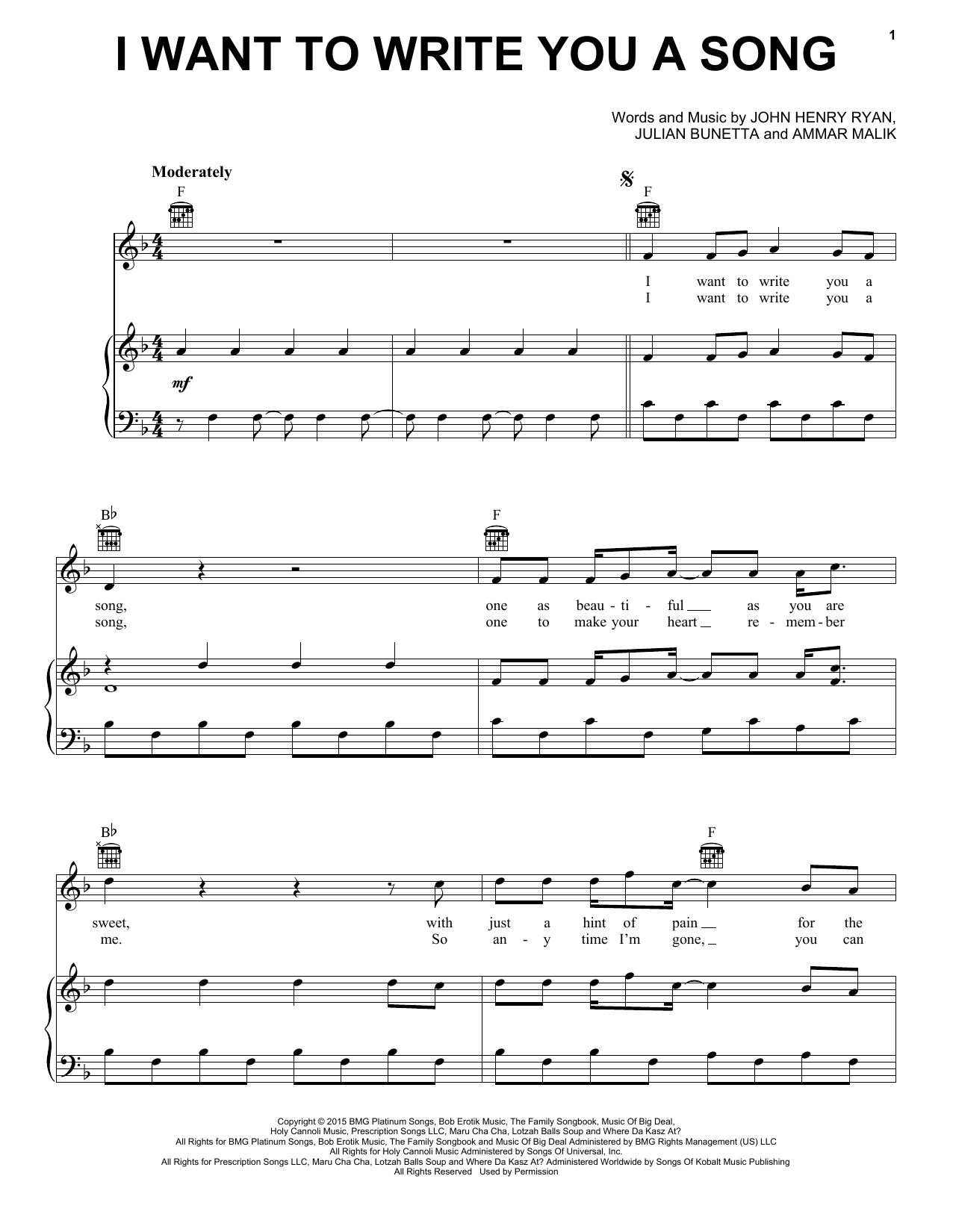 One Direction I Want To Write You A Song sheet music notes and chords. Download Printable PDF.