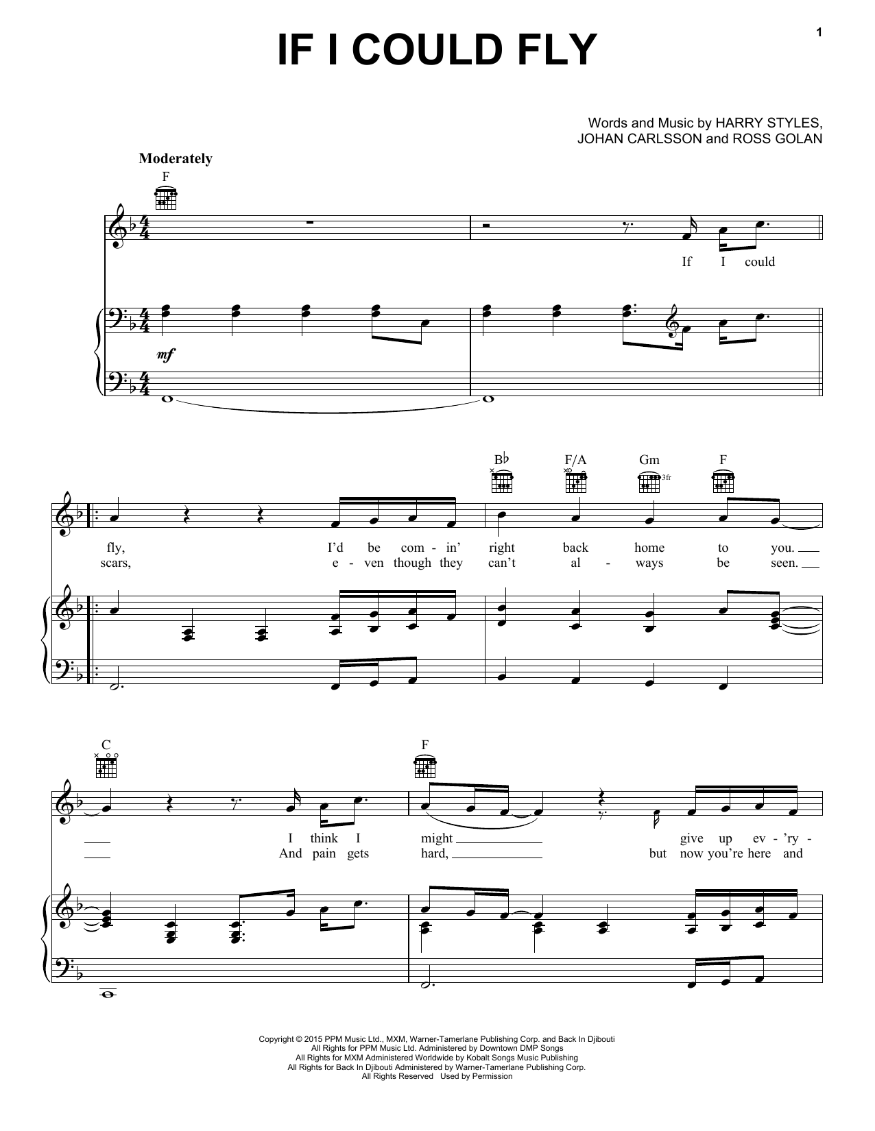One Direction If I Could Fly sheet music notes and chords