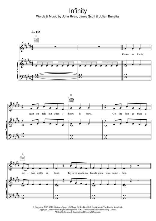 One Direction Infinity sheet music notes and chords. Download Printable PDF.