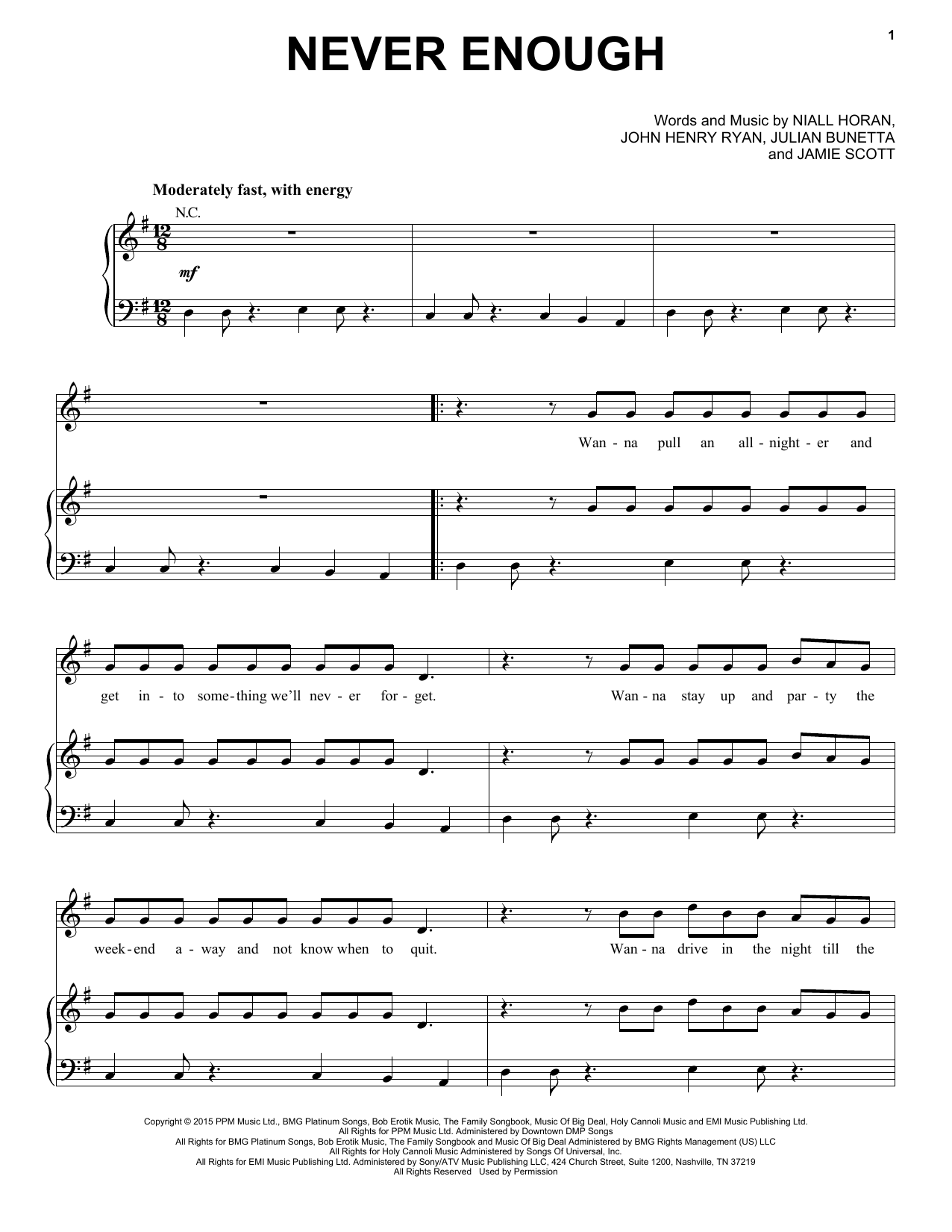 One Direction Never Enough sheet music notes and chords. Download Printable PDF.