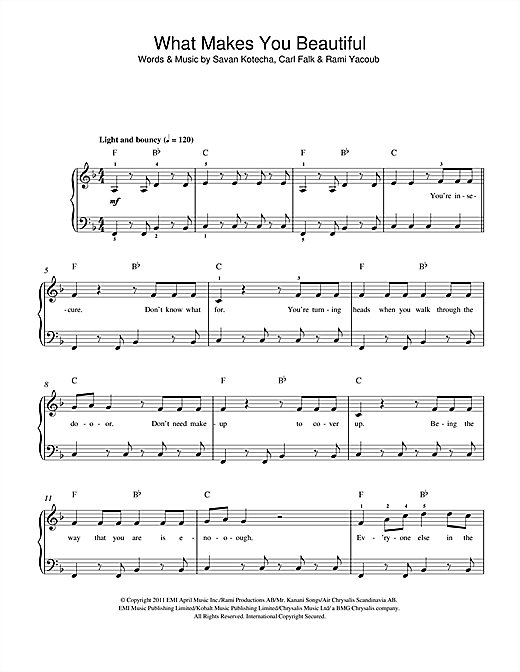 One Direction What Makes You Beautiful sheet music notes and chords. Download Printable PDF.