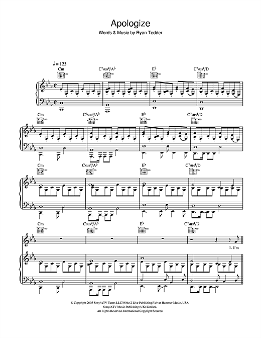 OneRepublic Apologize sheet music notes and chords. Download Printable PDF.