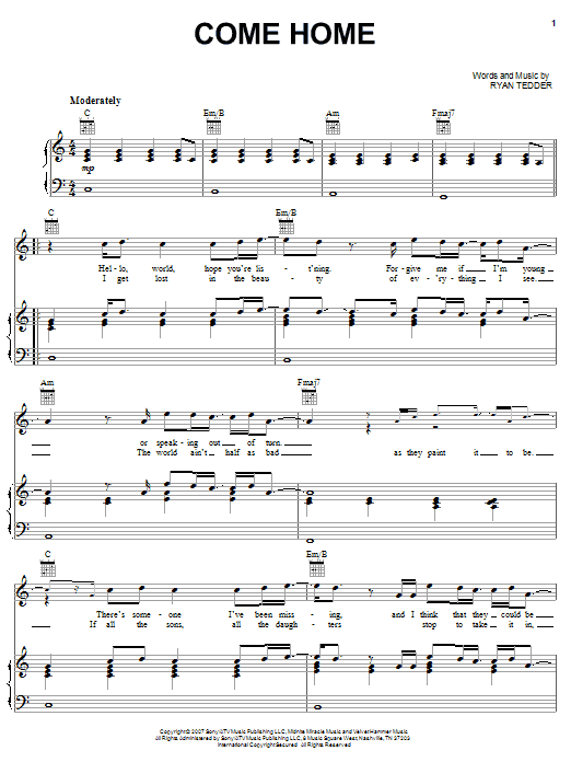 OneRepublic Come Home sheet music notes and chords. Download Printable PDF.