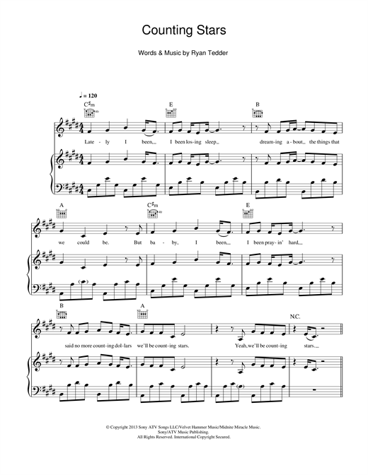 OneRepublic Counting Stars sheet music notes and chords. Download Printable PDF.