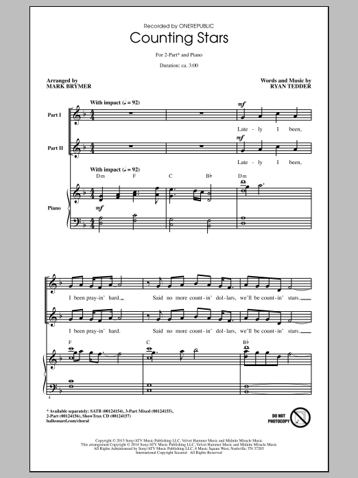 OneRepublic Counting Stars (arr. Mark Brymer) sheet music notes and chords. Download Printable PDF.