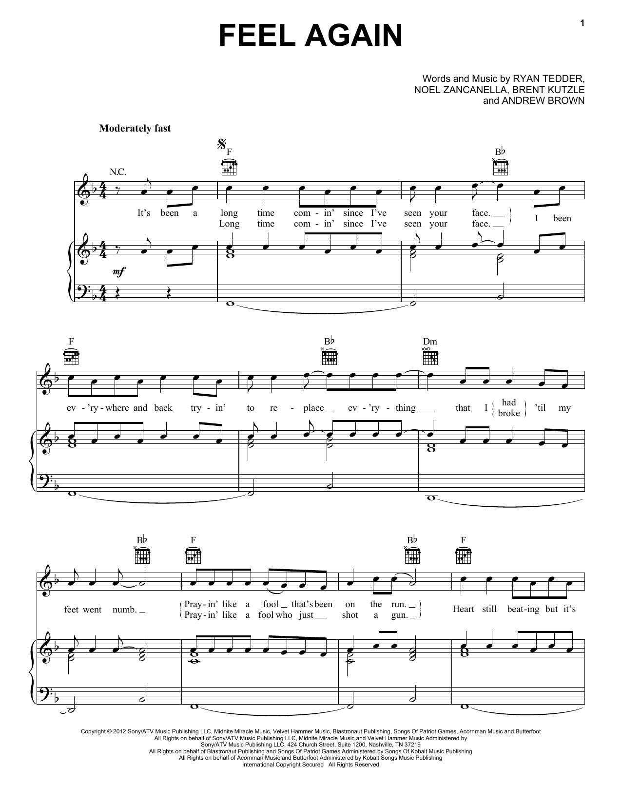 OneRepublic Feel Again sheet music notes and chords