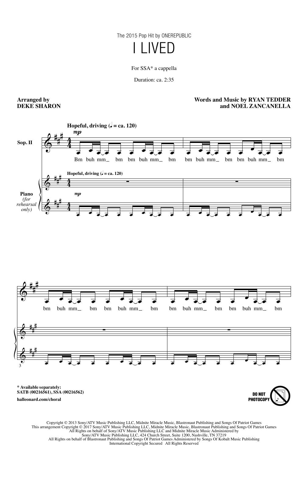 Deke Sharon I Lived sheet music notes and chords. Download Printable PDF.