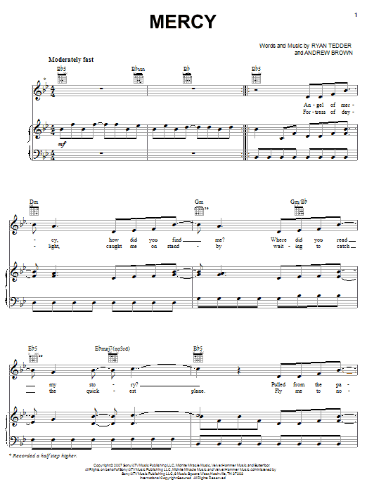 OneRepublic Mercy sheet music notes and chords. Download Printable PDF.