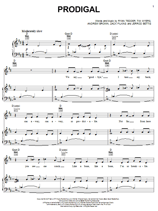 OneRepublic Prodigal sheet music notes and chords. Download Printable PDF.