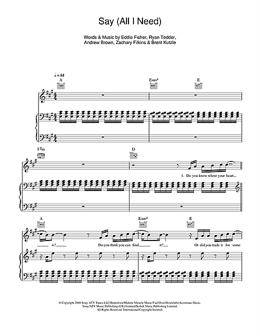 OneRepublic Say (All I Need) sheet music notes and chords. Download Printable PDF.