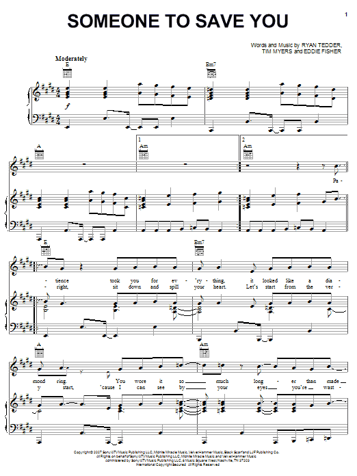 OneRepublic Someone To Save You sheet music notes and chords. Download Printable PDF.