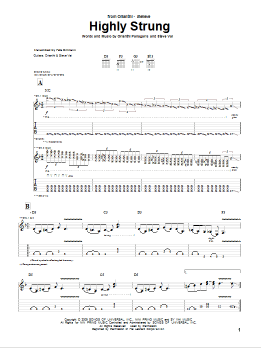 Orianthi Highly Strung sheet music notes and chords. Download Printable PDF.