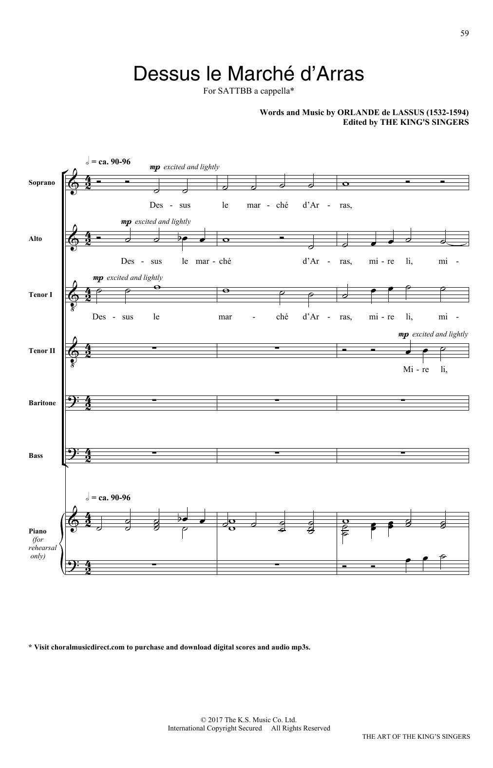 Orlando Di Lasso Dessus le march d'Arras sheet music notes and chords