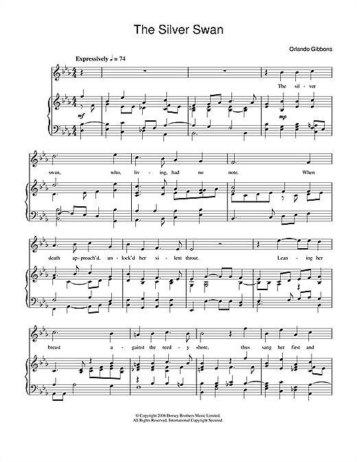 Orlando Gibbons 'The Silver Swan' Sheet Music Notes, Chords | Download  Printable Piano & Vocal - SKU: 34063