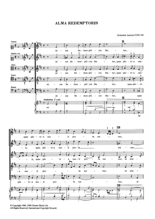 Orlandus Lassus Alma Redemptoris sheet music notes and chords. Download Printable PDF.