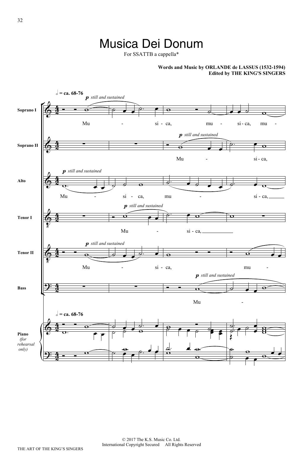 Orlandus Lassus Musica Dei Donum sheet music notes and chords