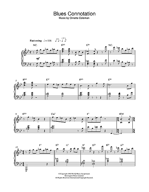 Ornette Coleman Blues Connotation sheet music notes and chords
