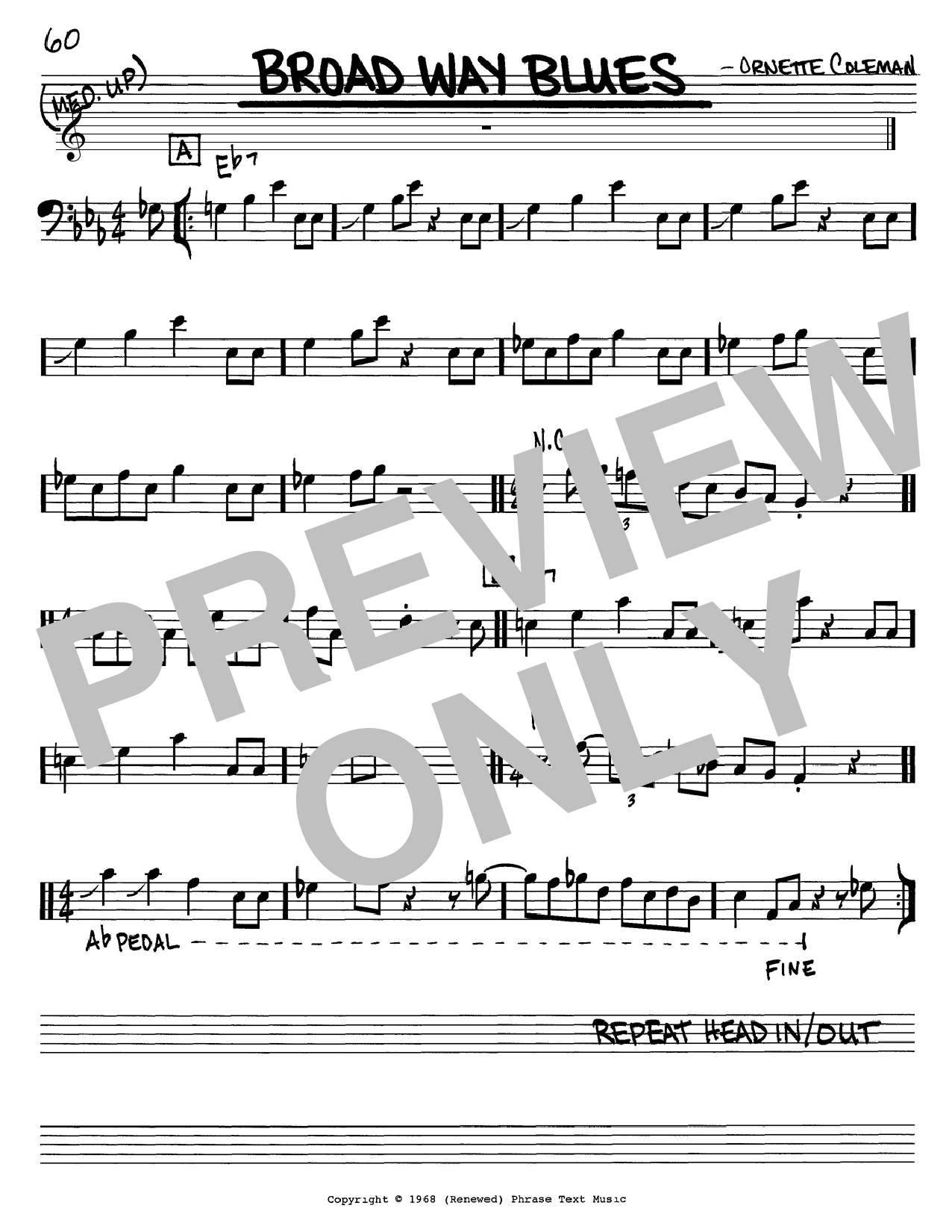 Ornette Coleman Broad Way Blues sheet music notes and chords. Download Printable PDF.