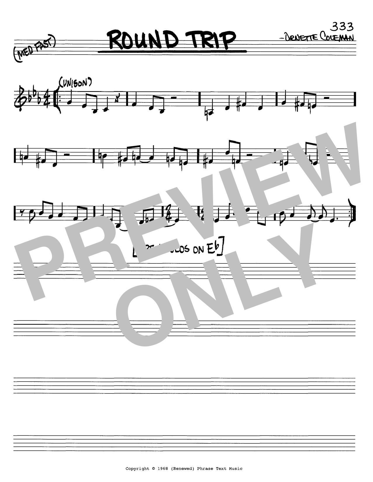 Ornette Coleman Round Trip sheet music notes and chords. Download Printable PDF.