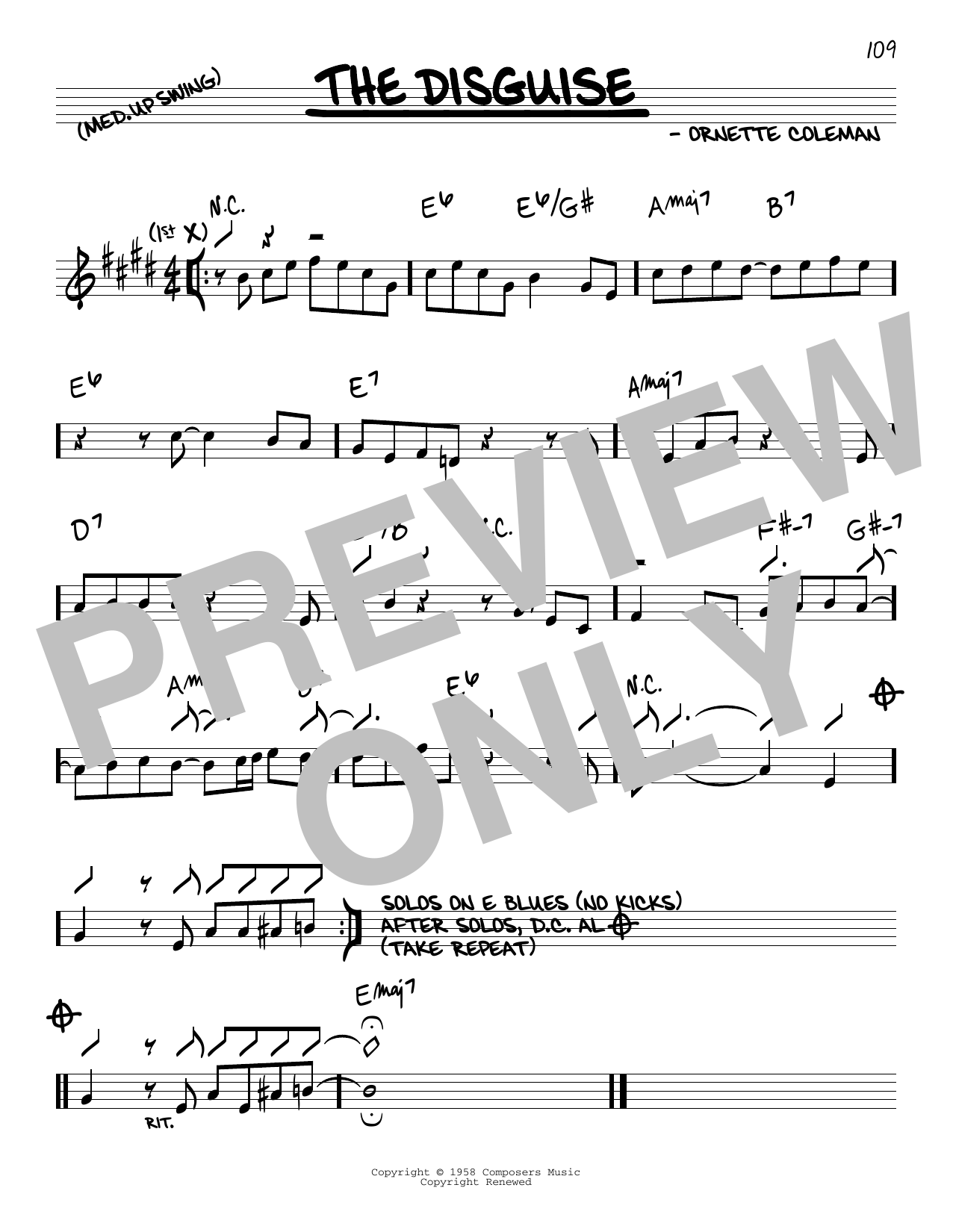 Ornette Coleman The Disguise sheet music notes and chords. Download Printable PDF.