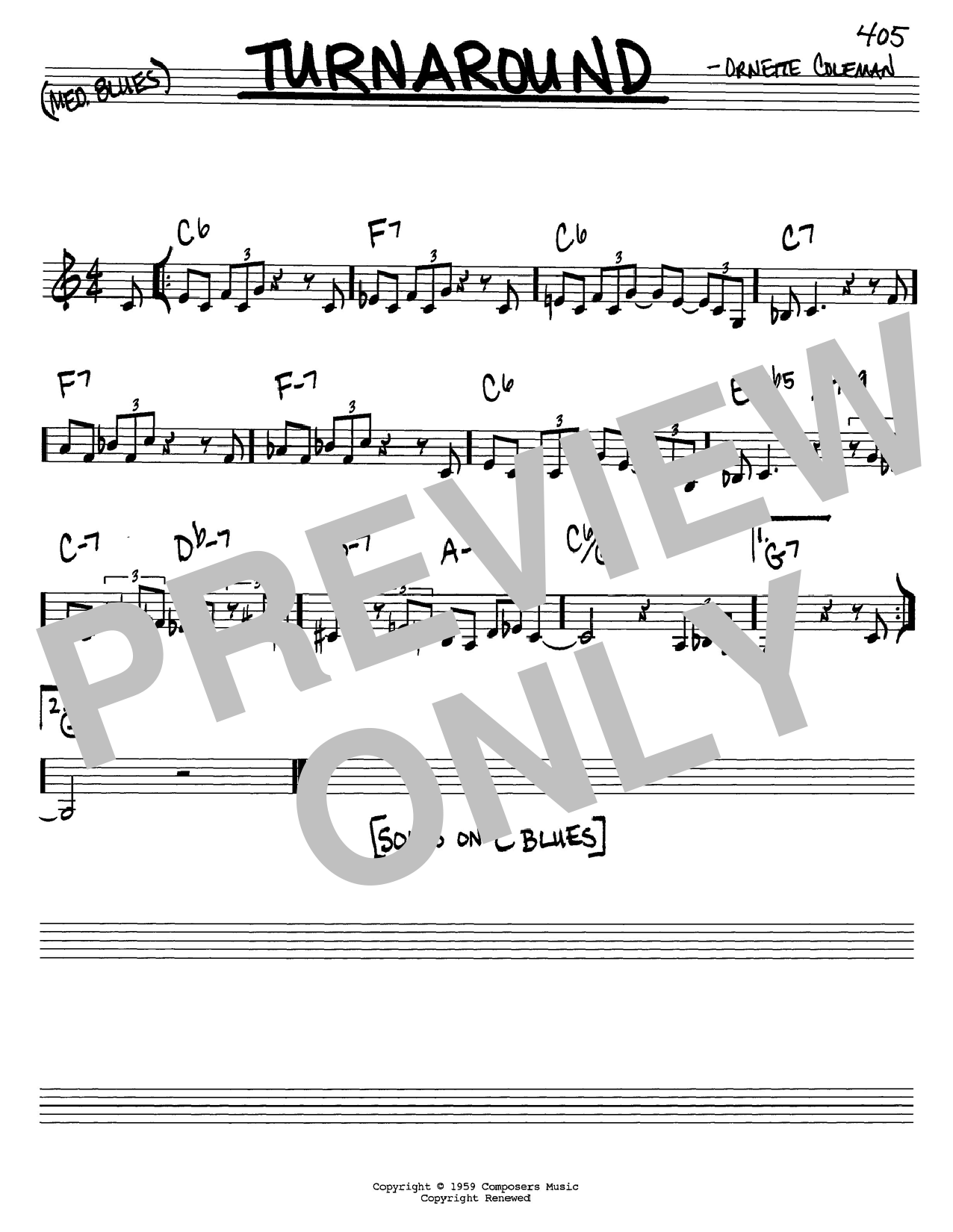 Ornette Coleman Turnaround sheet music notes and chords. Download Printable PDF.