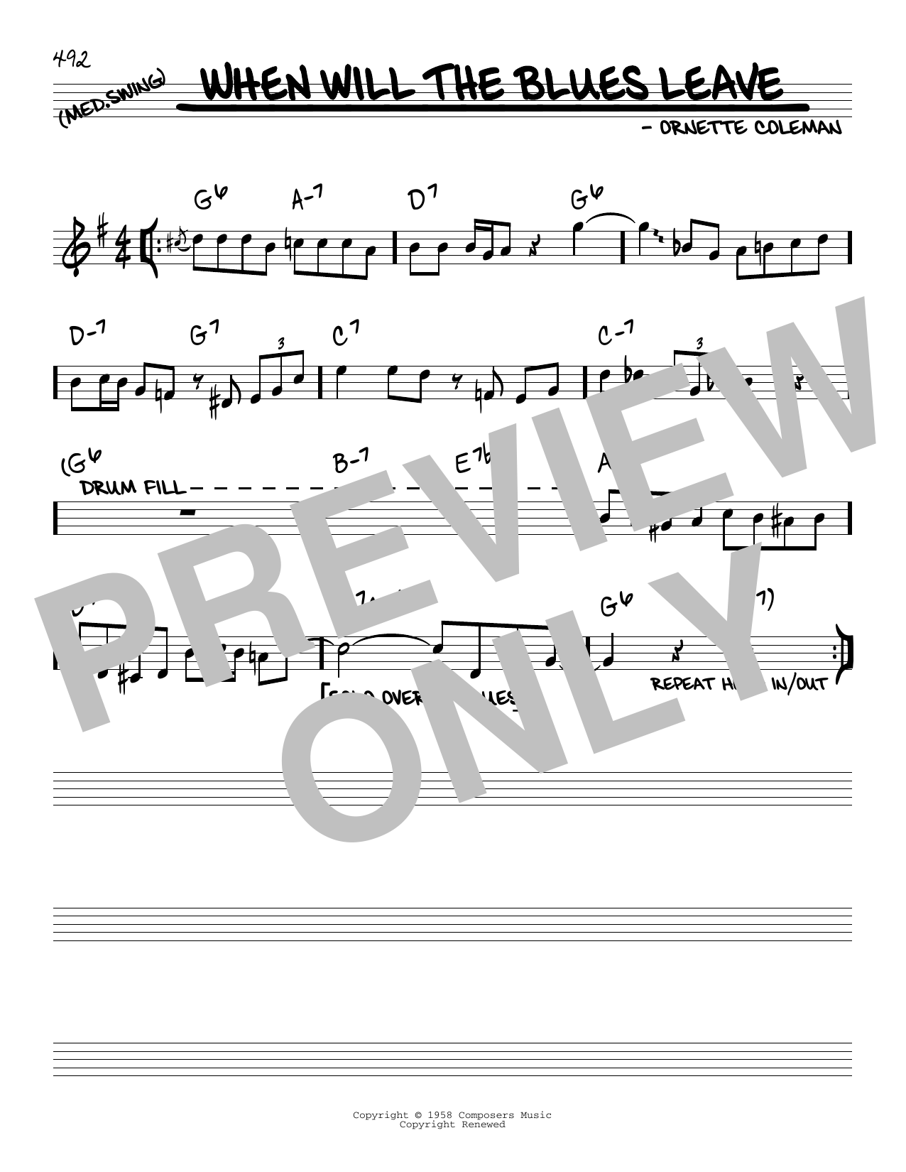 Ornette Coleman When Will The Blues Leave sheet music notes and chords. Download Printable PDF.