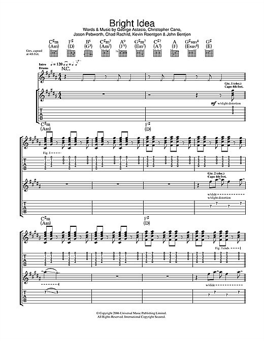 Orson Bright Idea sheet music notes and chords. Download Printable PDF.