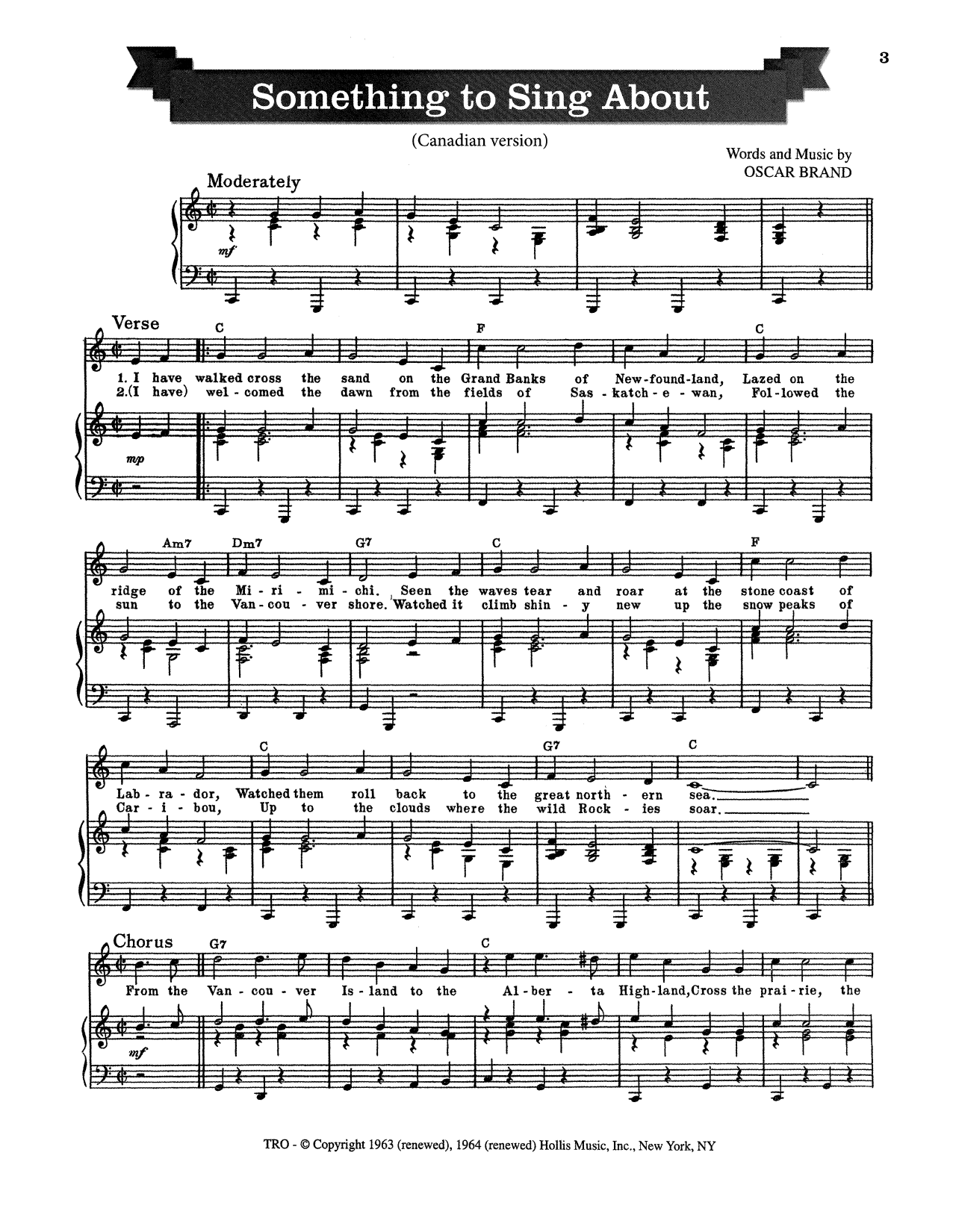 Oscar Brand Something To Sing About sheet music notes and chords. Download Printable PDF.