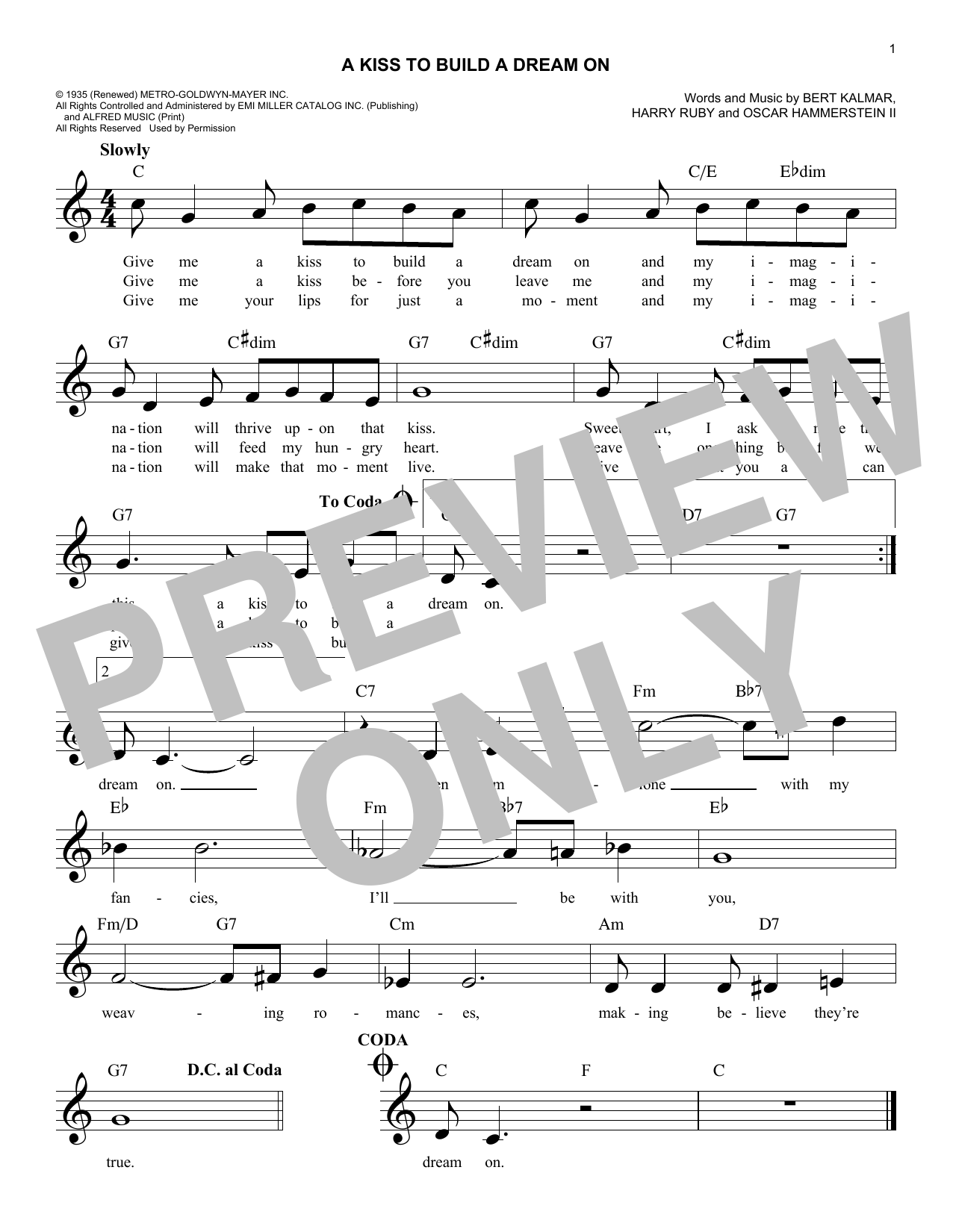 Oscar Hammerstein II A Kiss To Build A Dream On sheet music notes and chords. Download Printable PDF.