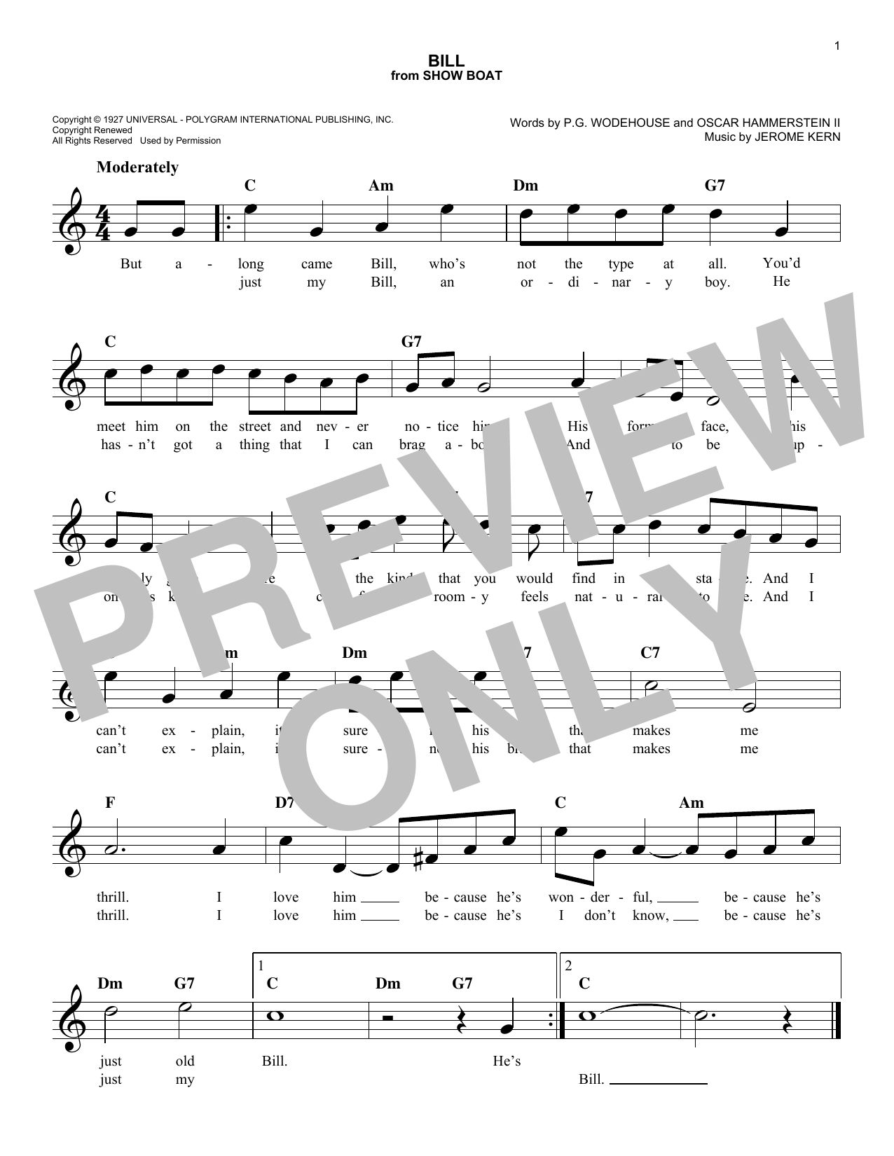 Oscar Hammerstein II Bill sheet music notes and chords. Download Printable PDF.