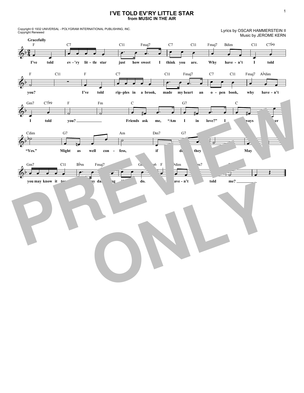 Oscar Hammerstein II I've Told Ev'ry Little Star sheet music notes and chords. Download Printable PDF.