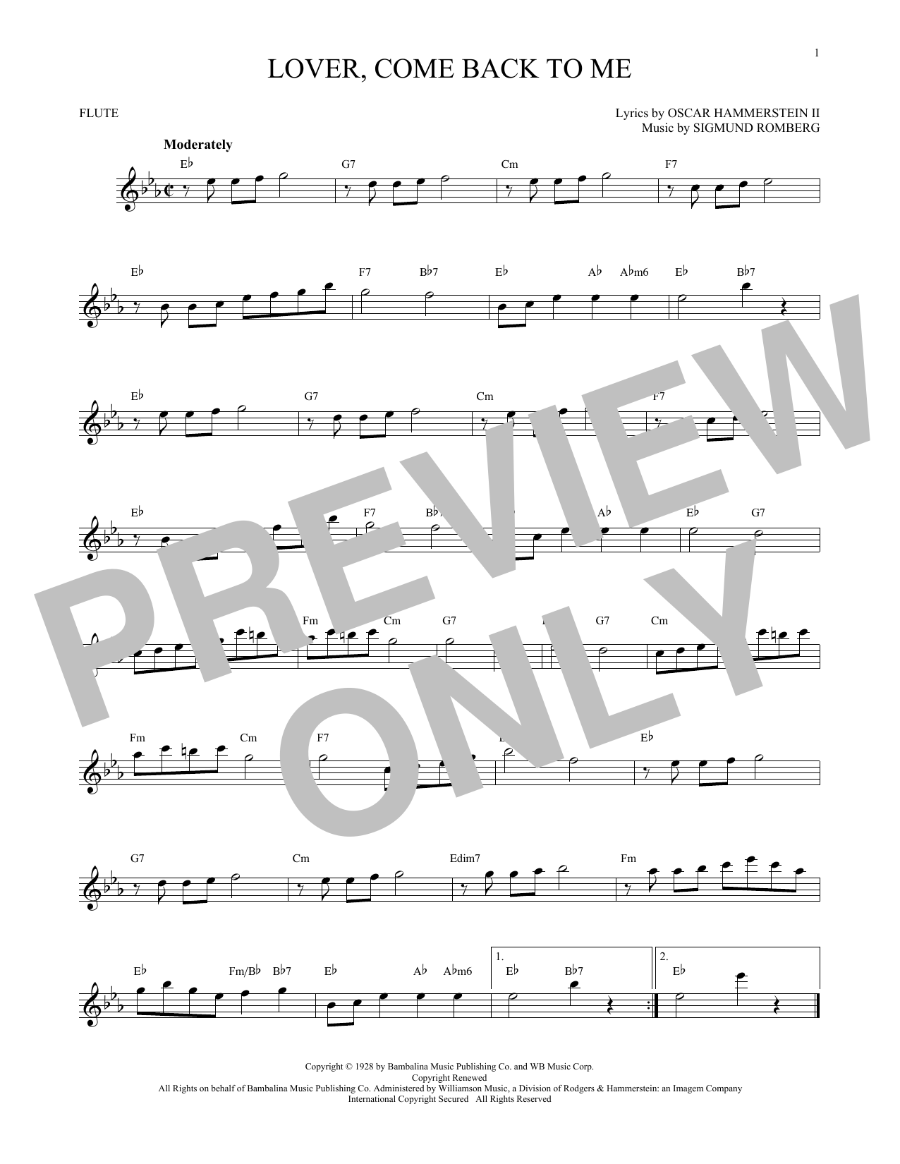 Oscar Hammerstein II Lover, Come Back To Me sheet music notes and chords. Download Printable PDF.