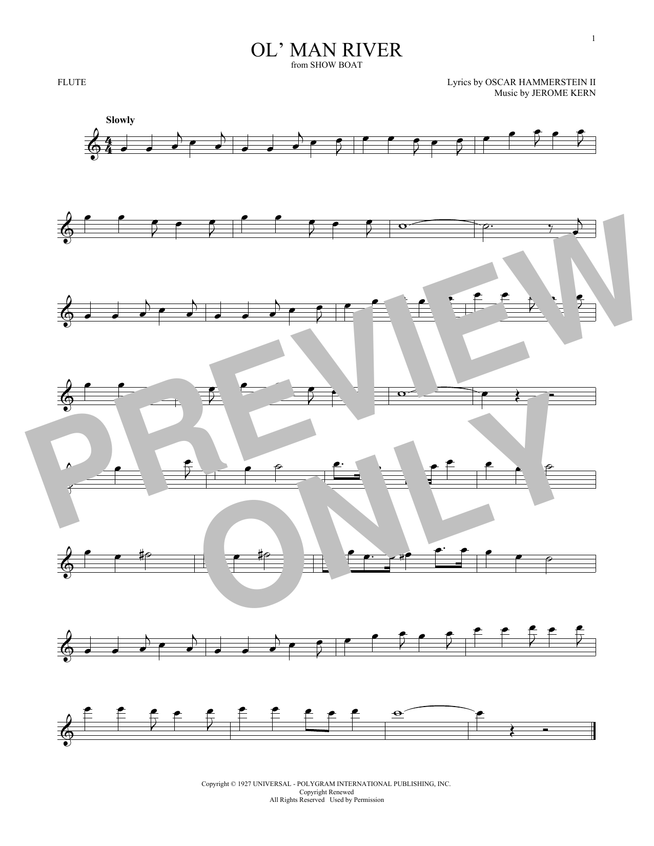 Oscar Hammerstein II Ol' Man River sheet music notes and chords. Download Printable PDF.