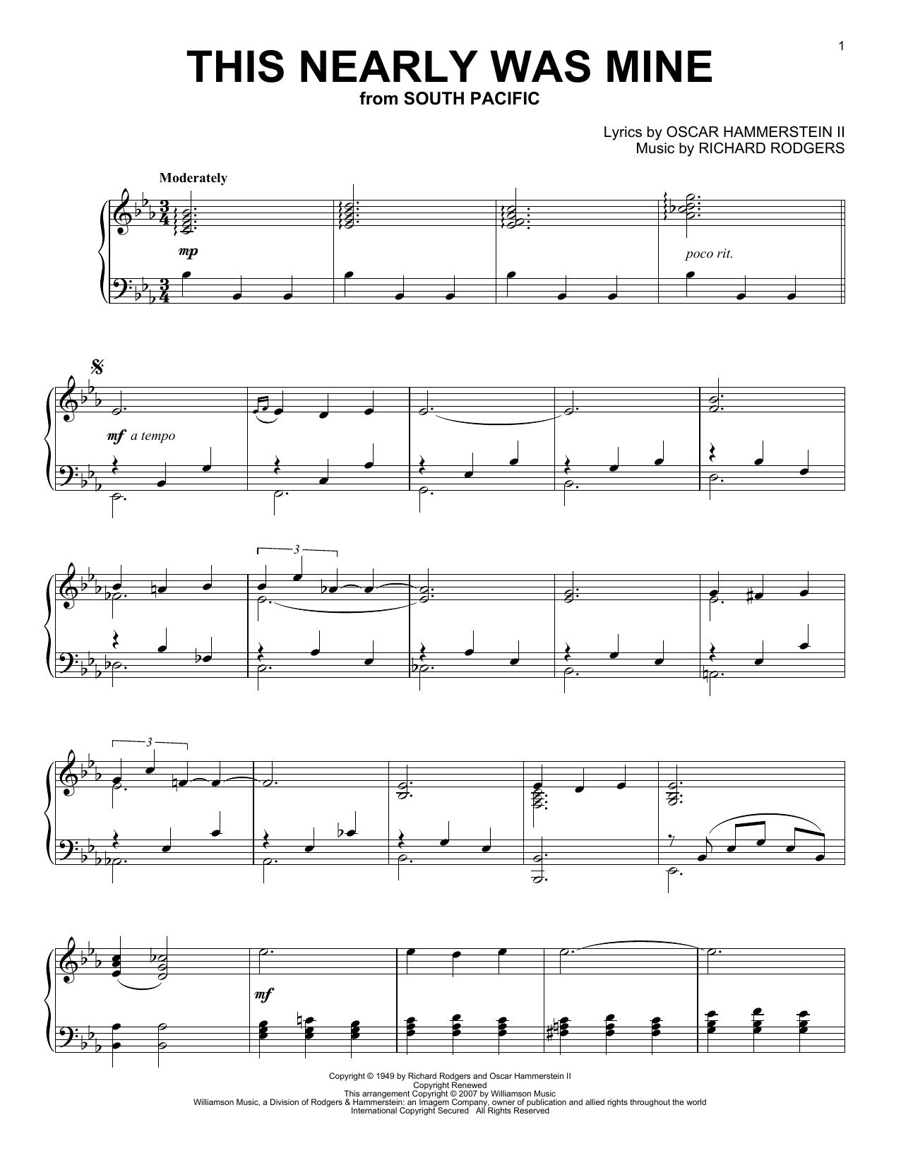 Oscar Hammerstein II This Nearly Was Mine sheet music notes and chords