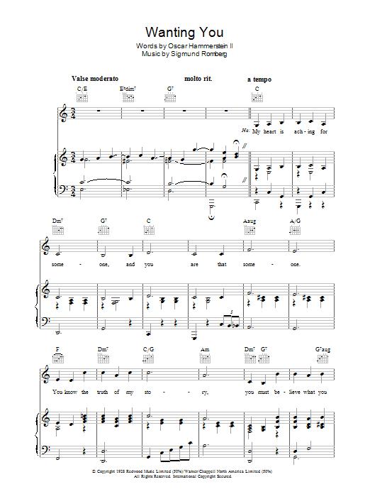 Mario Lanza Wanting You sheet music notes and chords. Download Printable PDF.