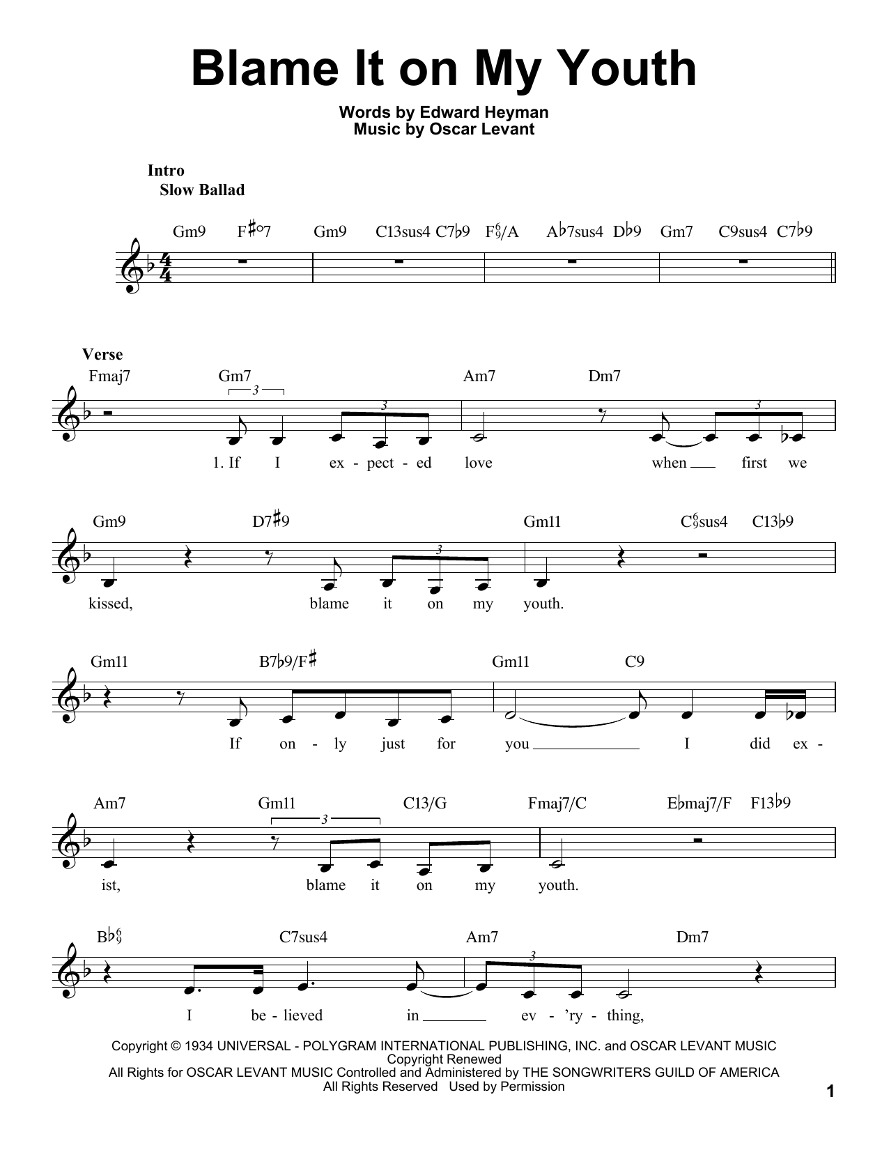 blame it on my youth sheet music free